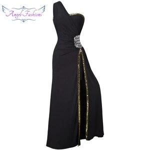 Angel-Fashion Бисероплетение выпускного вечера Формальное вечернее платье с разрезом Длинные вечерние платья черные 027 - Цвет: black one shoulder