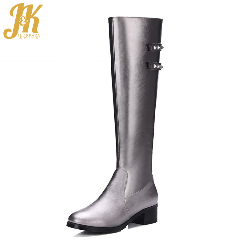 Big Size 33-43 Fashion 2017 Zip Women Boots Rivets Thick Heels Shoes Woman Knee High Boots Noble Add Fur Autumn Winter Boots wetkiss big size 34 43 fashion lace up platform knee boots add fur retro thick high heels skid proof fall winter shoes woman