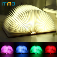 ITimo Home Decor LED Book Shaped Night Light Rechargeable Book Lights Folding Birthday Gift 5Colors USB