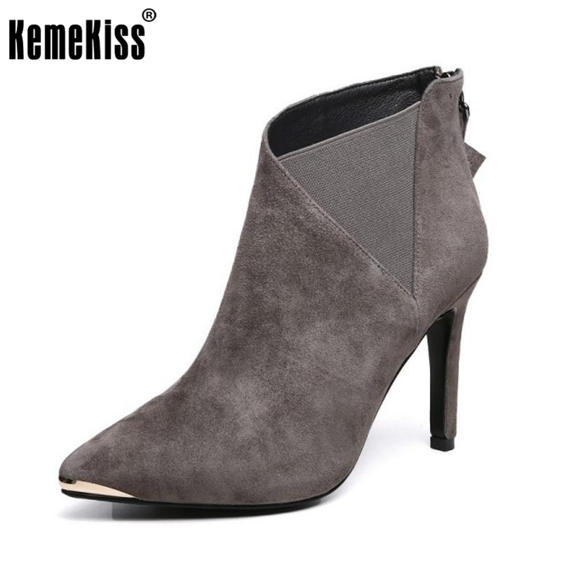 KemeKiss Ladies Genuine Leather Thin High Heels Half Short Boots Female Sexy Pointed Toe Zip Shoes Women Autumn Botas Size 34-39 black 2016 wine red navy blue cashmere genuine leather round toe shallow mouth ultra high heels female boots female