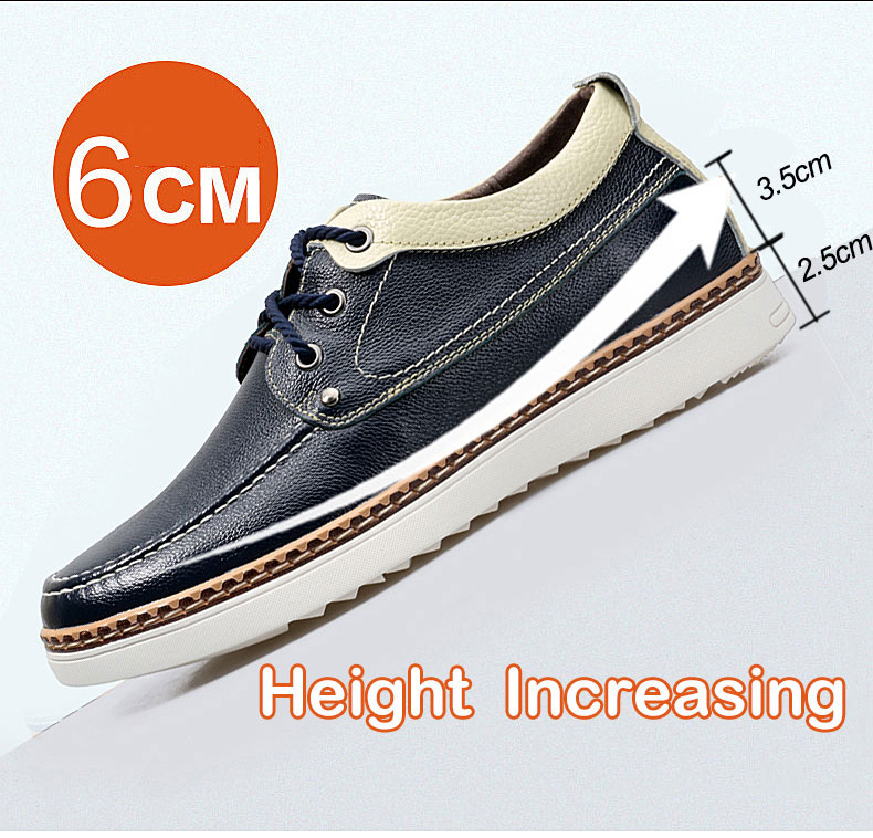 Vanmie Casual Men Shoes Genuine Leather Black Men Shoes Elevator 6 cm Invisible Height Increasing Shoes