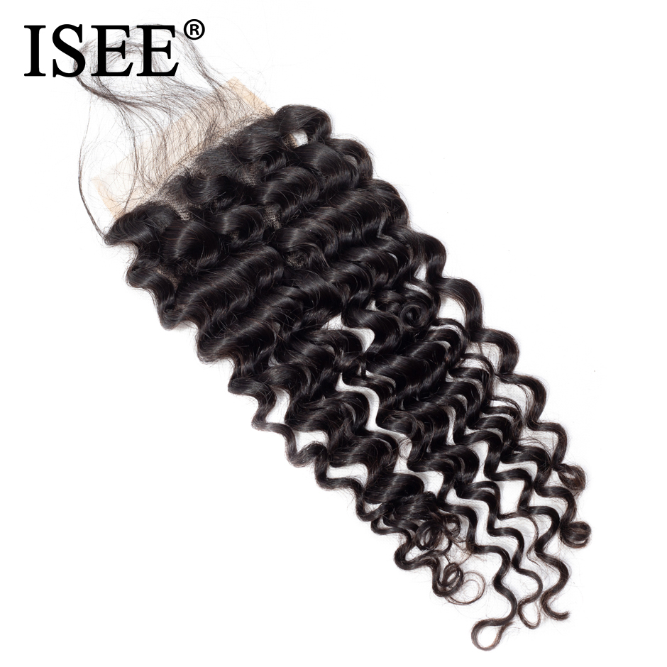 ISEE Brazilian Deep Wave Lace Closure 4*4 Free Part Human Hair Closure 130% Destiny Swiss Lace Remy Hair Closure Free Shipping