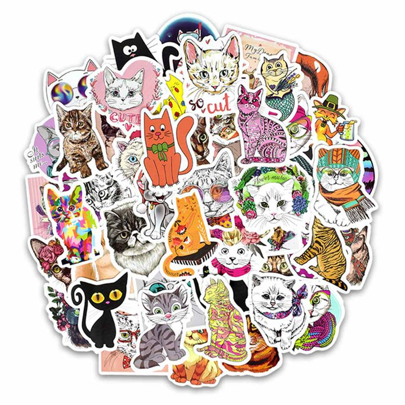 Audacious 50 Pcs/lot Cute Cat Style Kitten Stickers For Computer Skateboard Fridge Bicycle Pvc Waterproof Decal Stationery Stickers