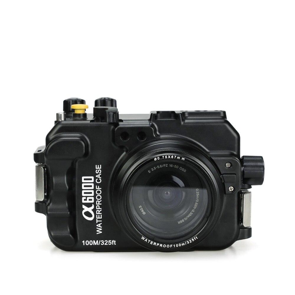 Pro 325ft 100 m plongée sous-marine plongée gens de mer boîtier étanche boîtier en aluminium pour Sony A6000 16-50 ILCE-6000 16-50mm caméra