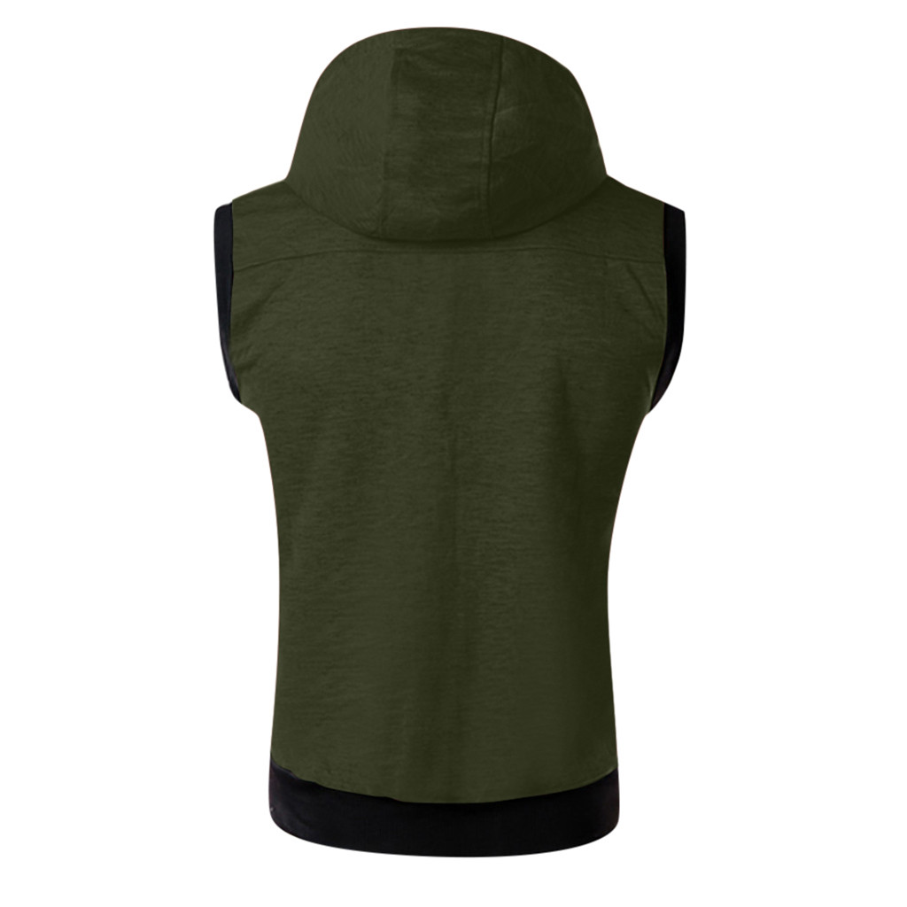 HTB1CsOLcBOD3KVjSZFFq6An9pXaF - New Arrival Vests For Men Slim Fit Fashion Men's Summer Casual Hooded Pure Color  Short Sleeve Top Blouse