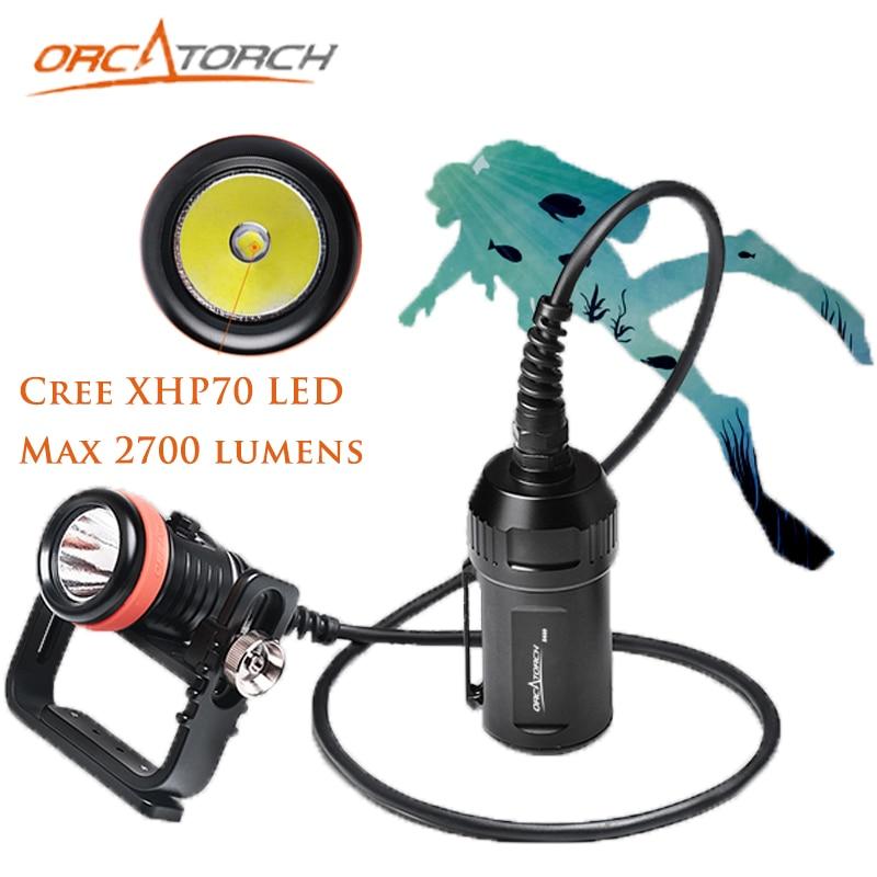 ORCATORCH D620 Professional Diving Light Scuba Diving Flashlight Waterproof XHP70 Dive Torch Underwater Diving Flashlight