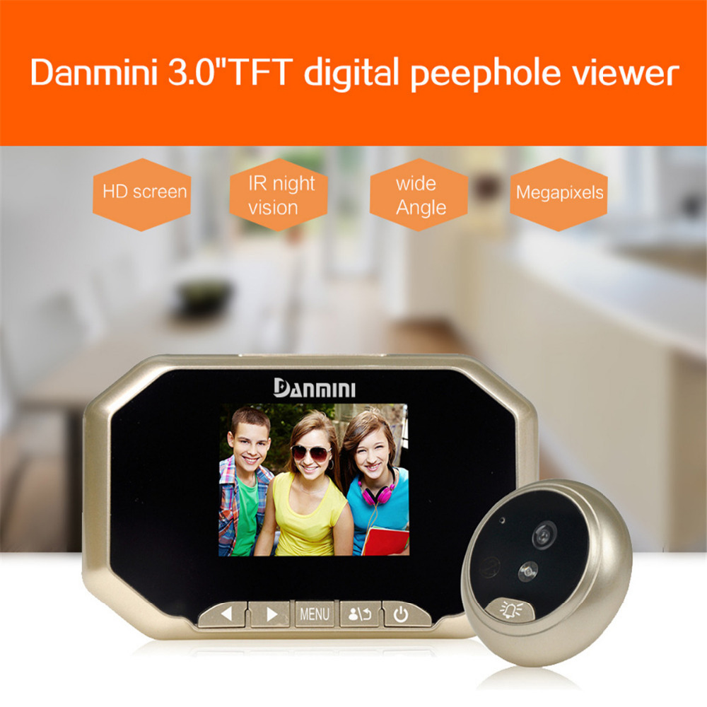3 inch LCD Color Screen Doorbell Viewer Digital Door Peephole Viewer Camera Wireless Door Eye Doorbell Color Camera 160 Degree