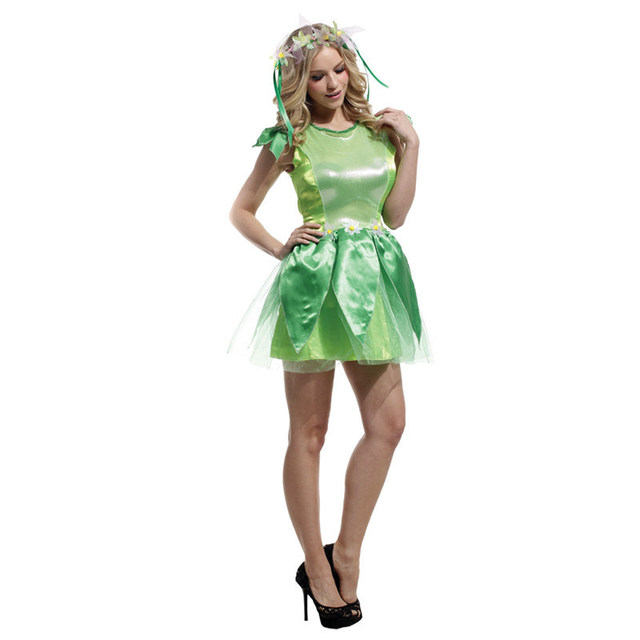 e31e1e8dbcd US $25.2 10% OFF|Adult Women Green Forest Princess Dress Female Flower  Fairy Tale Costume Fancy Dress ElfStage Performance Costume-in Movie & TV  ...