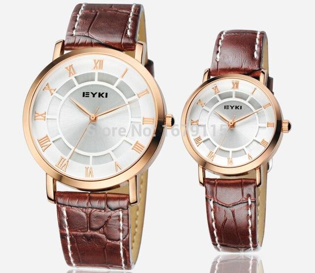 EYKI Top brand luxury watch men leather strap roman numerals Retro women quartz-watch couple watch montre homme hour clock