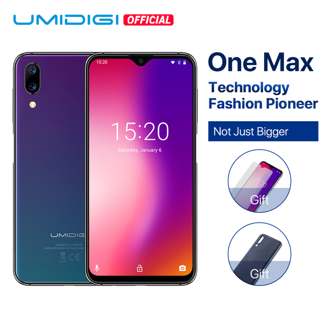 "UMIDIGI One Max Global Vertion 4GB 128GB 6.3"" Waterdrop Full-Screen 4150mAh Dual Camera Smartphone NFC Wireless Charger Face ID"