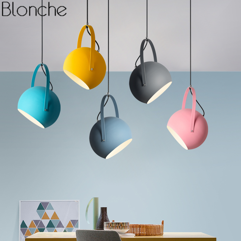 Nordic Macaron Iron Pendant Lights for Living Room Bedroom Luminaire Modern Led Round Hanging Lamp Loft