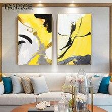 Cuadro abstracto en negro y amarillo para decoración de salón, póster impreso en amarillo de gran tamaño, arte de pared para sala de estar, Cuadros modernos, HD