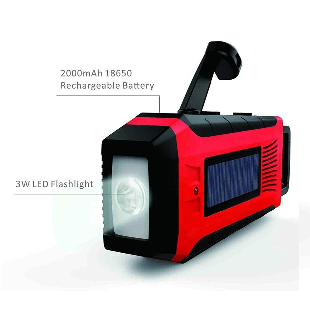 AM FM WB Solar Power Radio Hand Crank Dynamo 2000mAh Phone Charger With Flashlight