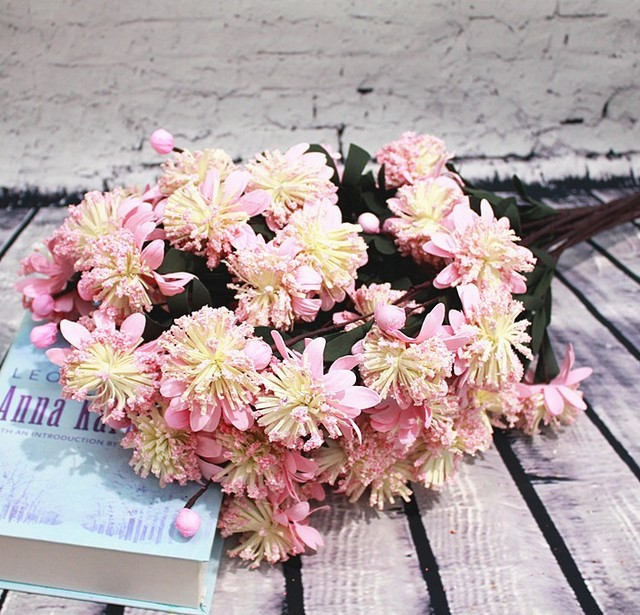 10pcs flower bouquets, 65cm length flower bouquet, 8cm big flower ...