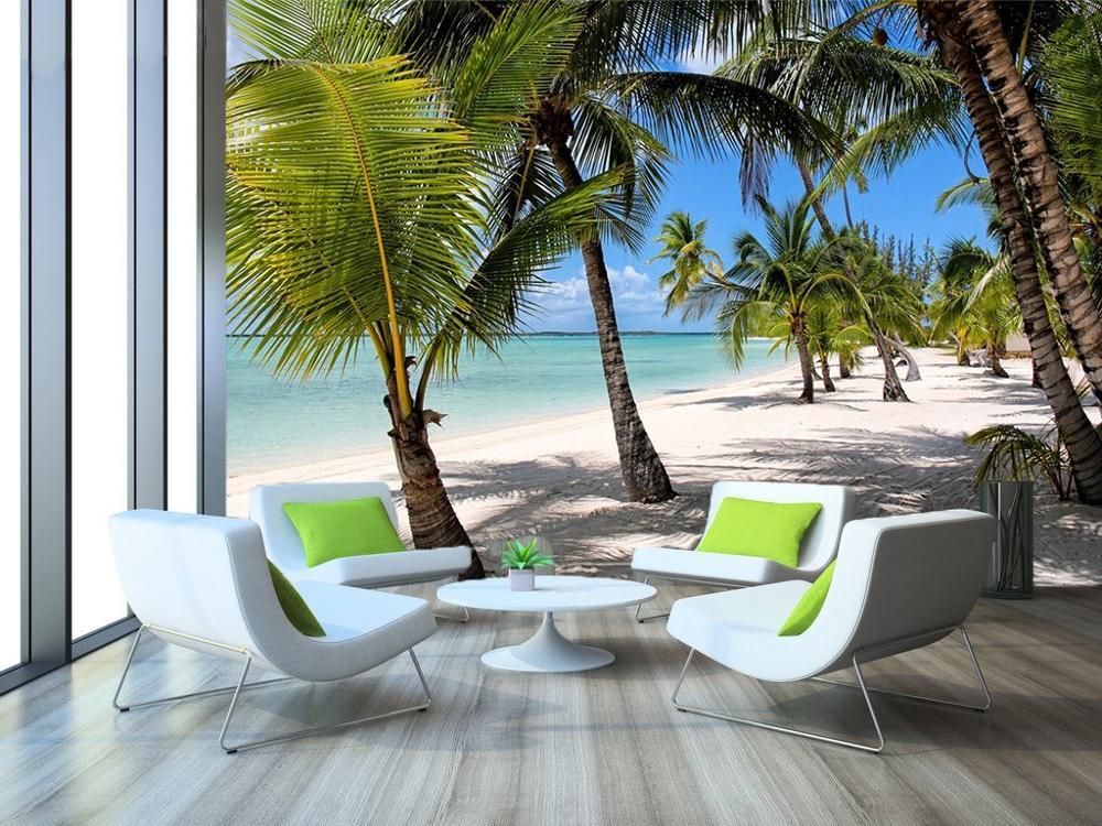 Tropical Beach Wall Mural Photo Wallpaper Palm Tree Decal