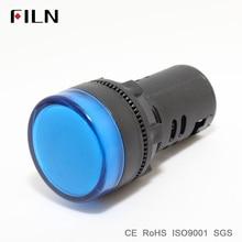 FILN 22 мм пластик сигнальная лампа, Индикатор Светло красный цвет желтый, синий; размеры 34-43 Зеленый Белый 12 в 24 110 светодиодные лампы