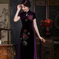 Burgundy Vintage Women Cheongsam Sexy Chinese Lady Velvet Qipao Short Sleeve Traditional Aodai Dress Handmade Button S 4XL