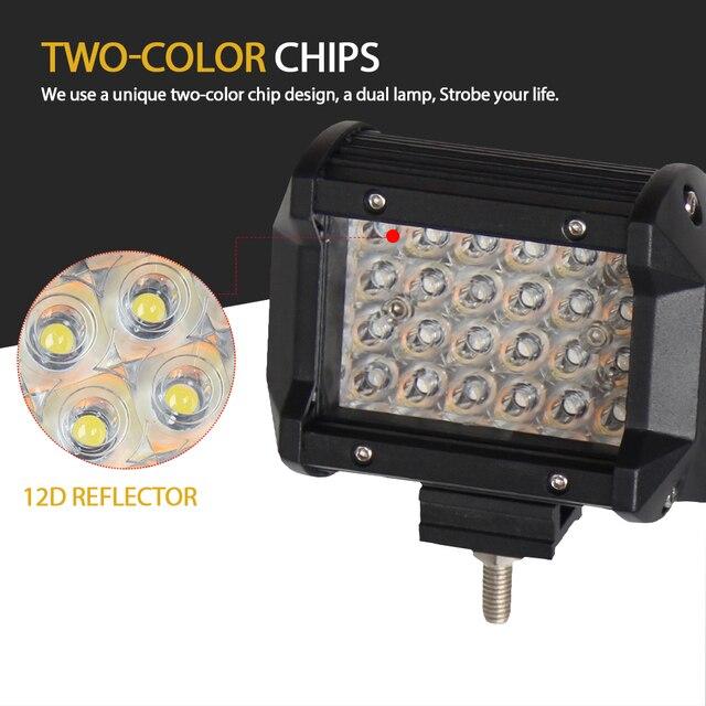 "CO ضوء 12D 4 ""LED ضوء العمل 12 فولت 24 فولت 72 واط ثنائي اللون وامض عمود إضاءة LED ستروب القيادة ضوء ل الطرق الوعرة 4x4 شاحنة قارب 4WD ATV"