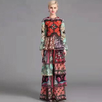 High Quality 2016 Brand Designer Runway Maxi Dress Women S Long Sleeve Vintage Floral Print Cascading