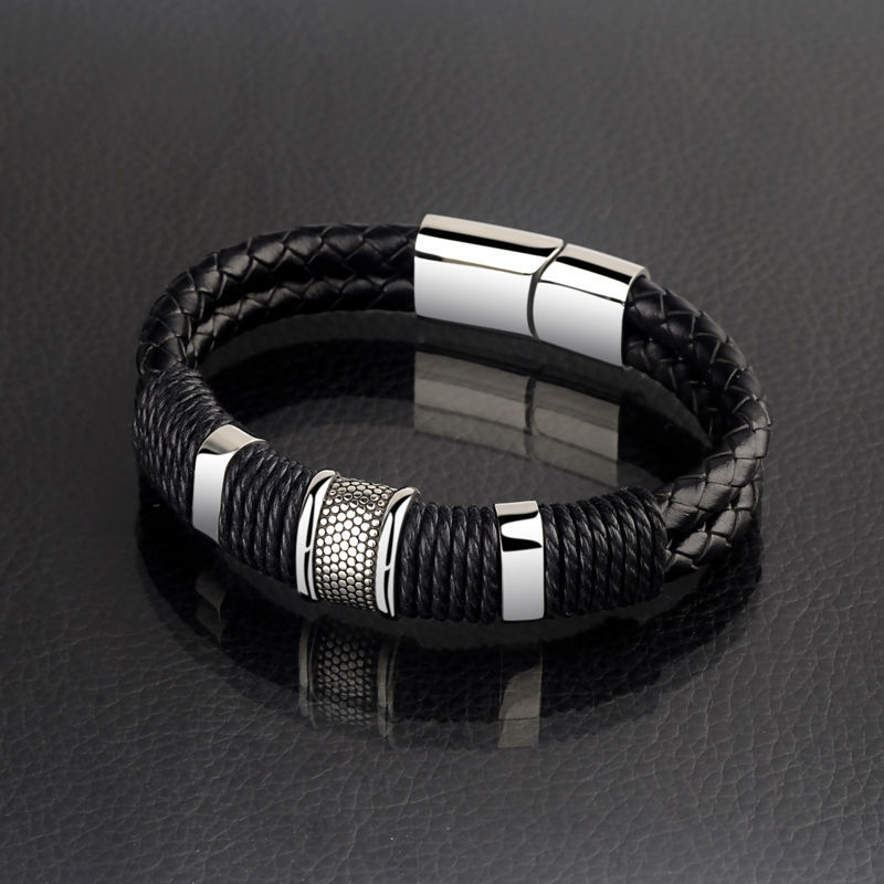 High Quality Double Layers Braided Leather Bracelets for Men with Stainless Steel Charms 20.5CM Length Magnetic Buckle Claps