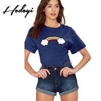 Hodoyi2017 New Summer Women S Fashion And Leisure All Match Rainbow Printing T Shirt Tee Female