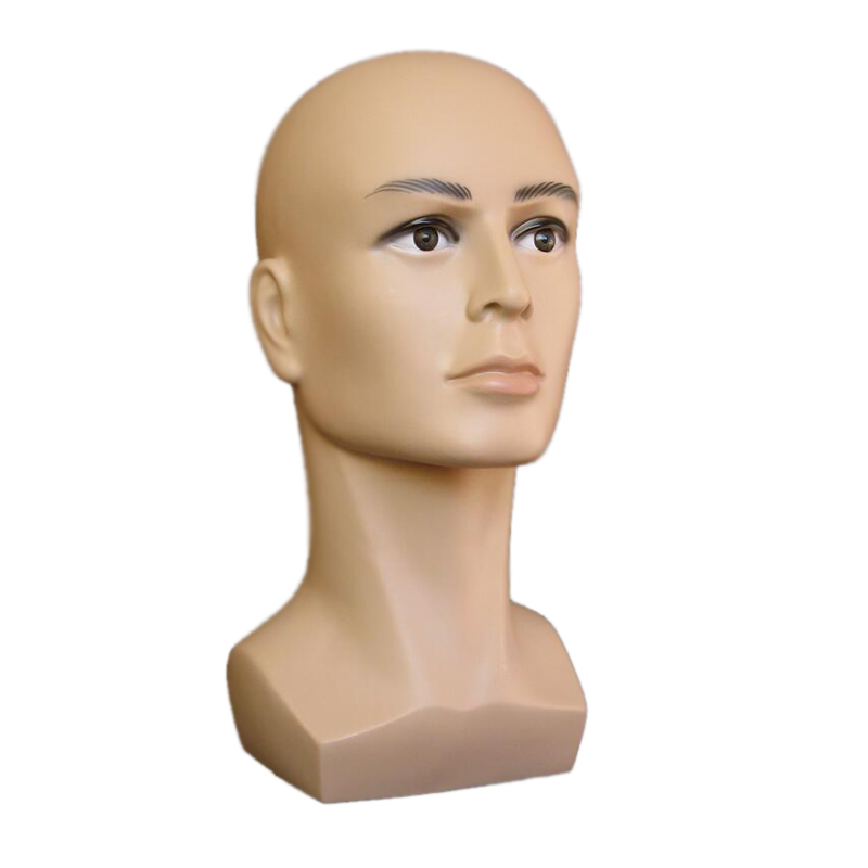 Free shiping coffee color male Mannequin Head Hat Display Wig training head model head model men's head model image