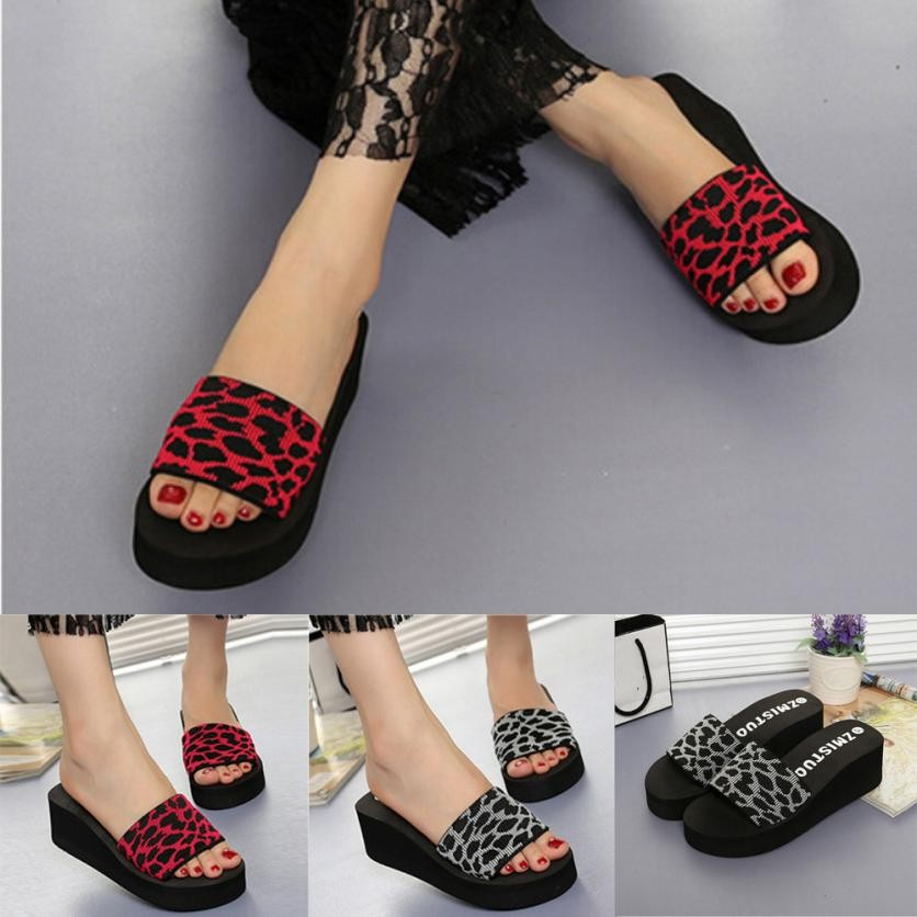 Wedge Sandals Bath-Slippers Platform Women's Shoes Leopard Large-Size Fashion Casual