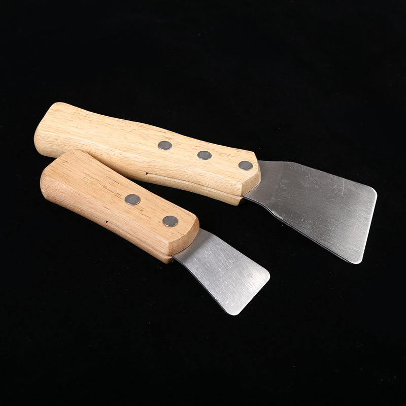 2pcs/pack Big+Small Spatula Scoop With Wooden Handle Stretch Ceiling Film Shovel Accessories For Welding Harpoon