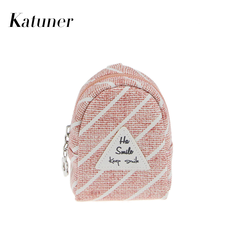 Katuner New Design Plaid Letter Key Chain Coin Purses PU Leather Women Mini Bag Children Kids Purse Girls Wallet Sac Enfan KB017