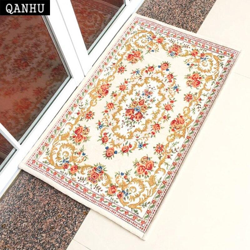 QANHU tapis classiques brodés environnement tapis de sol Chenille tissu salle de bain tapis anti-dérapant 5 couleurs 6 taille # D-01