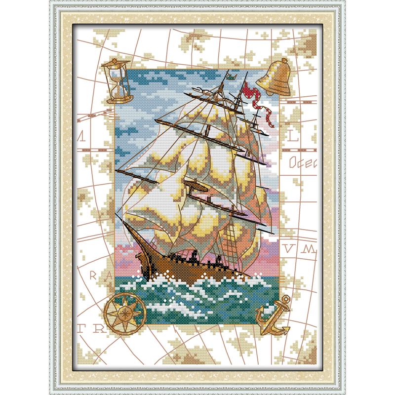 Everlasting love Christmas Oceangoing voyage Ecological cotton Cross Stitch 11CT Printed DIY gift new year decorations for home