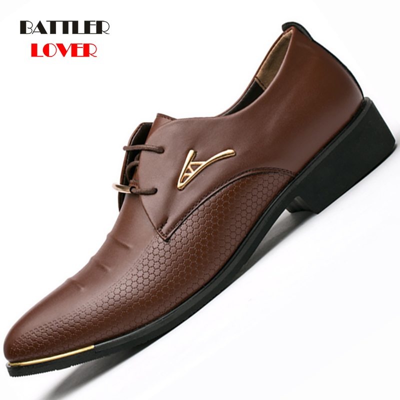 Luxury Brand Genuine Leather Pointed Toe Business Brogue Shoes Men Dress Casual Soft Rubber Shoes Men's Breathable Wedding Shoes