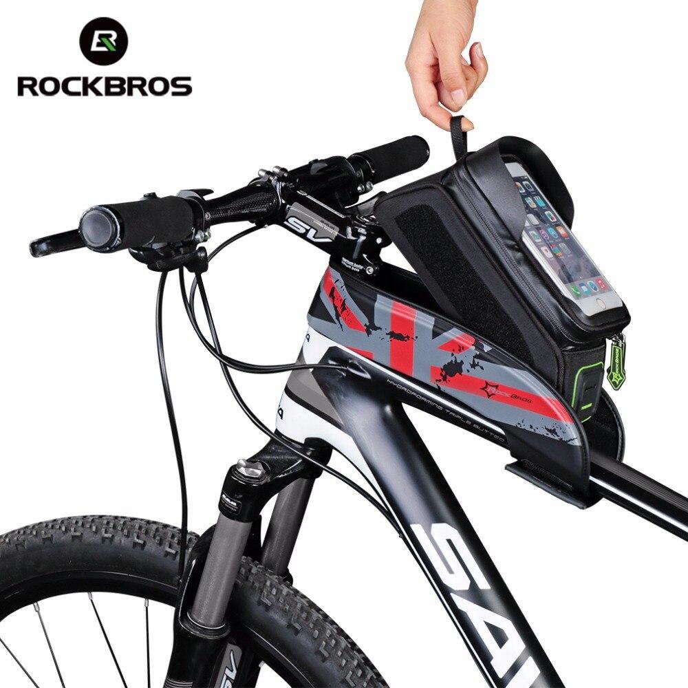 "RockBros Bike Frame Bag 6.0/"" Touch Screen Waterproof Front Tube Cycling Bag Blue"