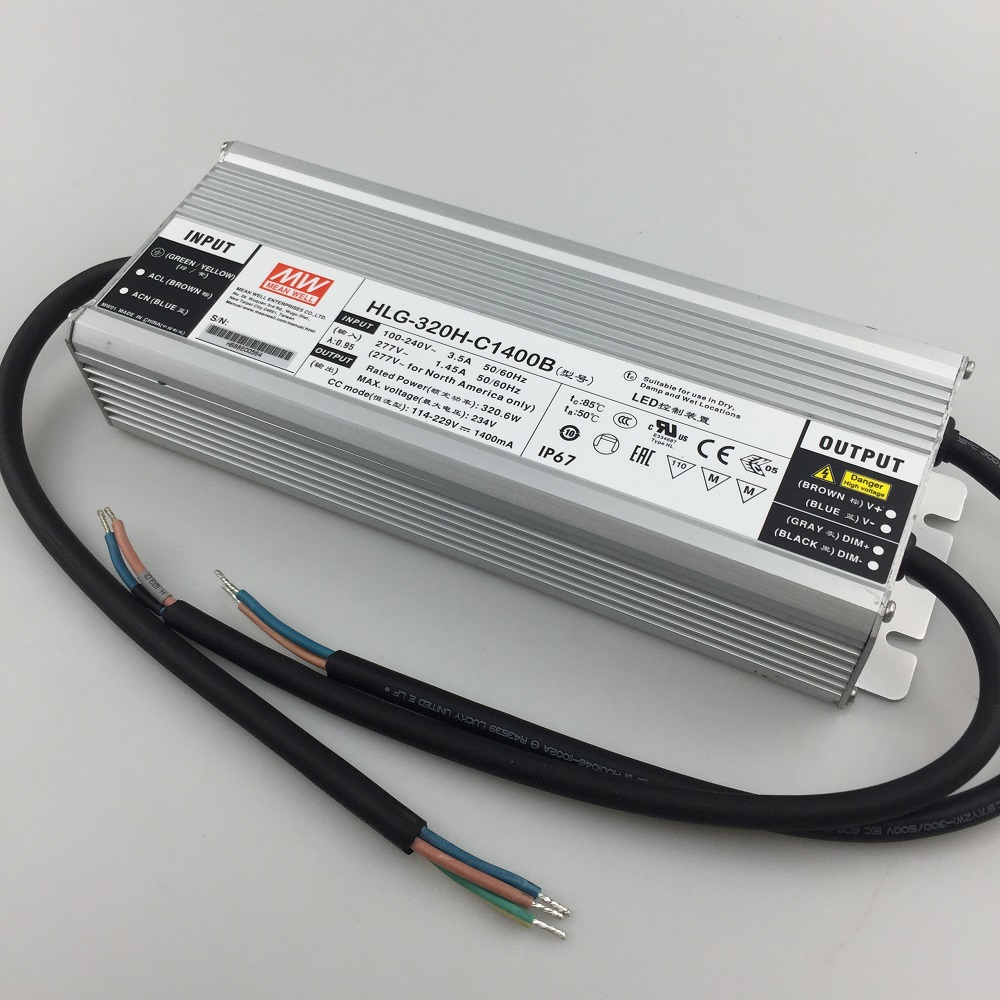 Dimmable Meanwell 320w LED Driver HLG 320H C1400B Constant Current waterproof power supply for 6pcs cree