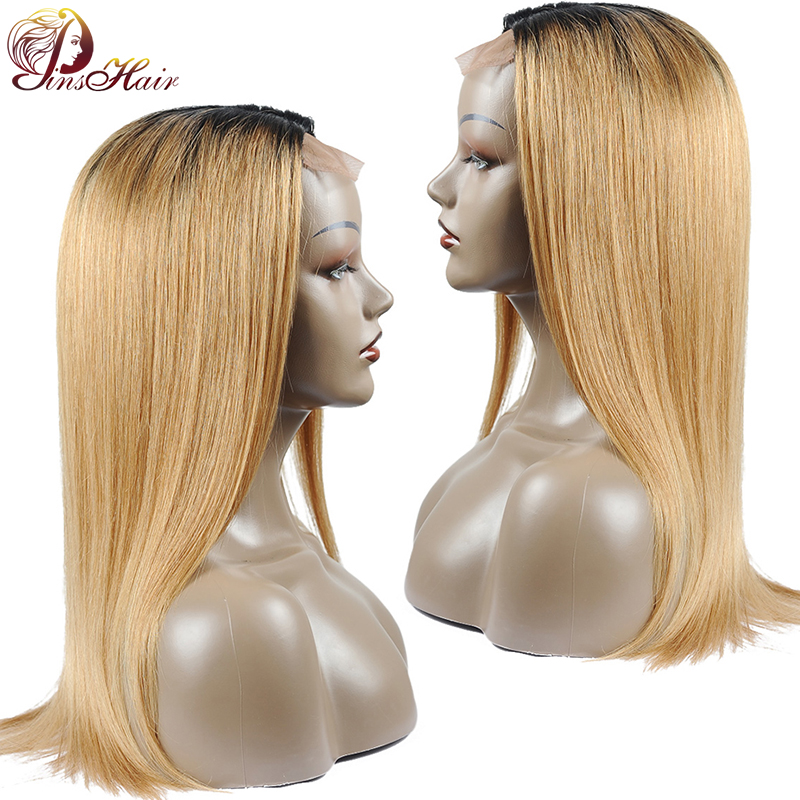 Pinshair Ombre Straight Hair Lace Front Human Hair Wigs Pre Plucked Blonde 1B/27 Brazilian Hair Lace Front Closure Wig Non-Remy