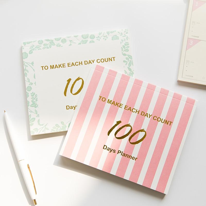 Gehorsam Nette 100day Notebook Täglichen Plan Buch Zeitplan Zeit Management Memopad Notebook Schreibwaren Student Lieferungen Notebooks Notebooks & Schreibblöcke