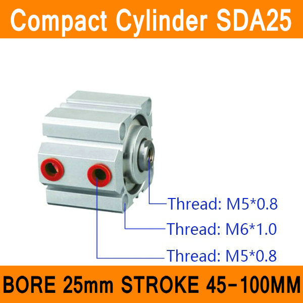 SDA25 Cylinder SDA Series Bore 25mm Stroke 45-100mm Compact Air Cylinders Dual Action Air Pneumatic Cylinders ISO cxsm10 10 cxsm10 20 cxsm10 25 smc dual rod cylinder basic type pneumatic component air tools cxsm series lots of stock