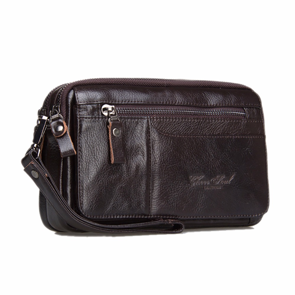 100% Genuine Leather Men Business Cltuch Bags Mobile Phone Case Cigarette Purse Pouch First Layer Cowhide Male Handy Bag Wallet