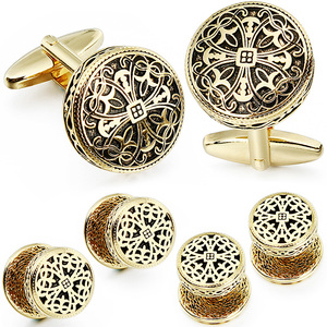 Image 3 - HAWSON Vintage Cufflinks and Tuxedo Shirt Studs for Men Retro Flower Pattern   Best Wedding Business Gifts for Men with Box