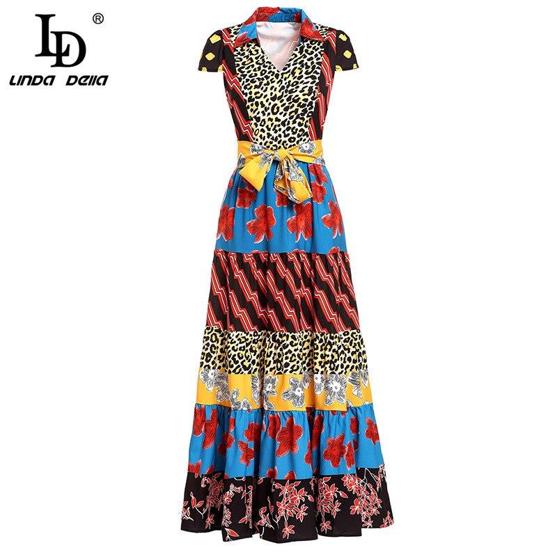 LD LINDA DELLA แฟชั่นรันเวย์ฤดูร้อนชุดยาวผู้หญิง V คอดอกไม้เสือดาวพิมพ์ Patchwork Vintage Belted ชุด-ใน ชุดเดรส จาก เสื้อผ้าสตรี บน   1
