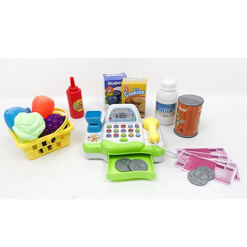 Children Pretend Play Supermarket Cash Register Kids Electro