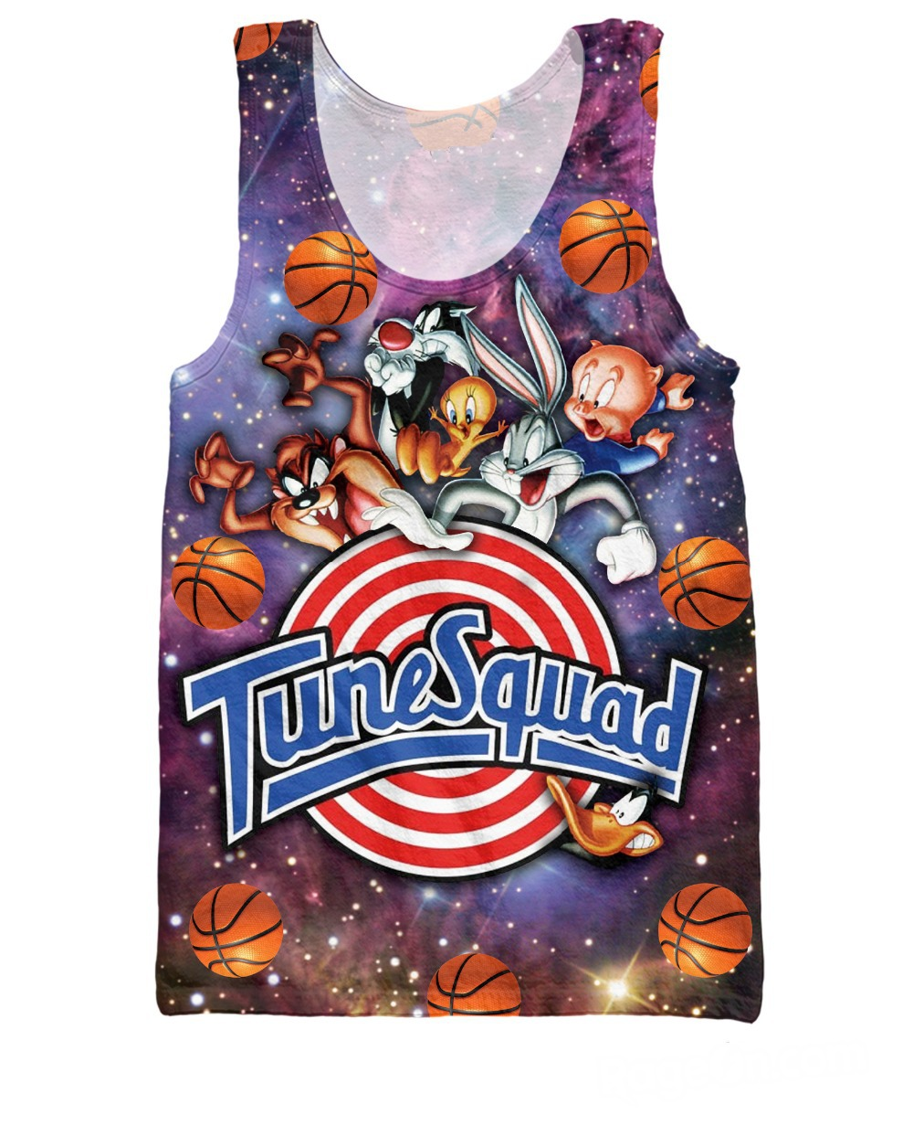 RuiYi Space Jam Tune Squad Tank Top Sexy Women tee Looney Tunes Bugs Bunny Tweety Bird Taz Daffy Duck Sylvester Vest Men galaxy