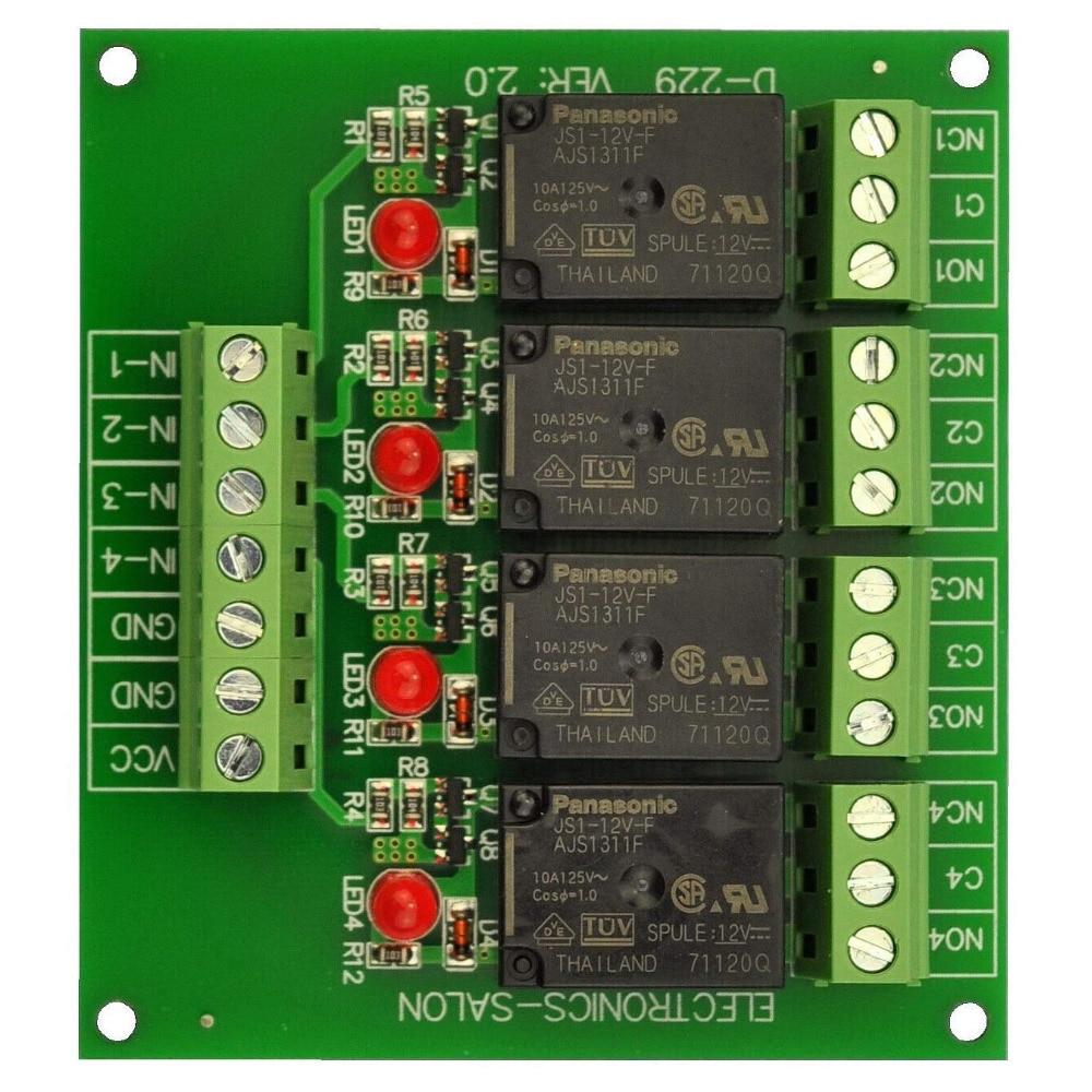 Electronics-Salon 4 SPDT 10Amp Power Relay Module, DC 12V Version.Electronics-Salon 4 SPDT 10Amp Power Relay Module, DC 12V Version.
