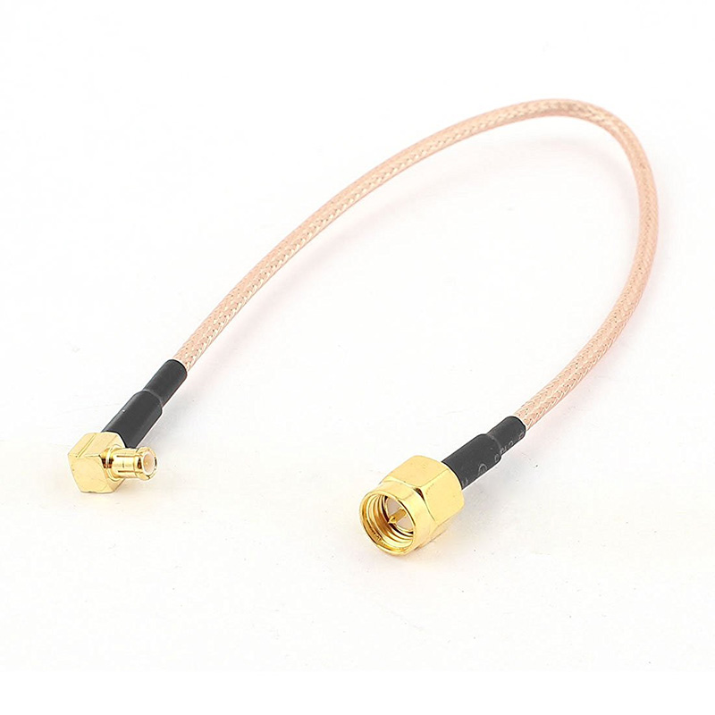 ALLISHOP 1M RF Coaxial Coax Cable Assembly SMA Male to MCX Male Right Angle RG178 RF Cable for Computer WLAN Network RF Antenna