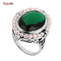 Szjinao Wholesale Fashion Jewelry 100% Natural Pearl Carving Antique Jewelry Green Emerald Women 925 Sterling Silver Ring