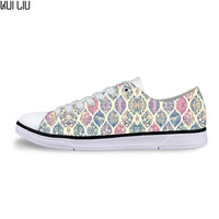Blue and Green Watercolor Moroccan Pattern Low Canvas Shoes Casual Female Vulcanize Shoes for Teen Girls Ladies Floal Flat Shoes