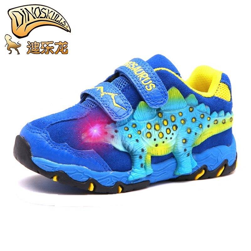 Dinoskulls bureau enfants chaussures garçons 3D dinosaure flash lumière automne hiver baskets enfants chaussures de sport rougeoyantes peau de vache anti-dérapant