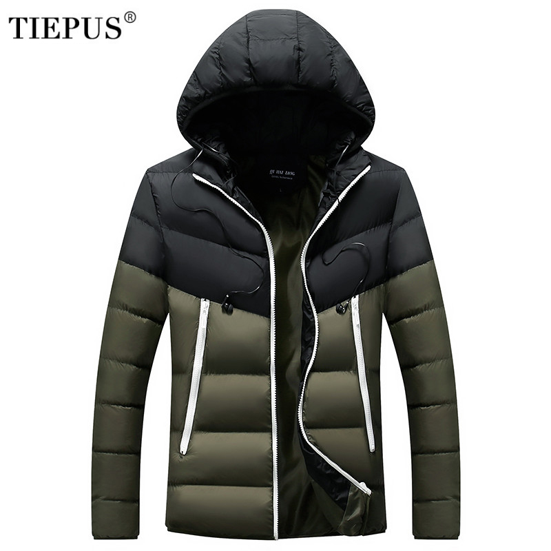 TIEPUS Brand 2019  Winter White Duck Warm  Coat Men Hooded Ultra Light Down Jacket Male Windproof Warm Parka Size M~3XL