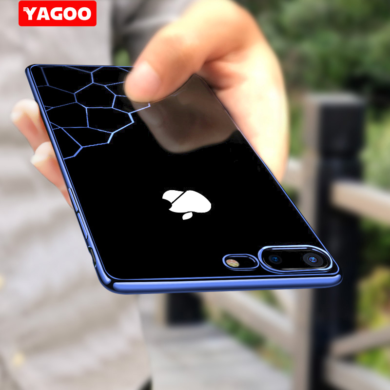 For iphone 7 case for iphone 7 plus case luxury silicone TPU hard back cover 360 armor shockproof 4.7 5.5 inch coque funda YAGOO
