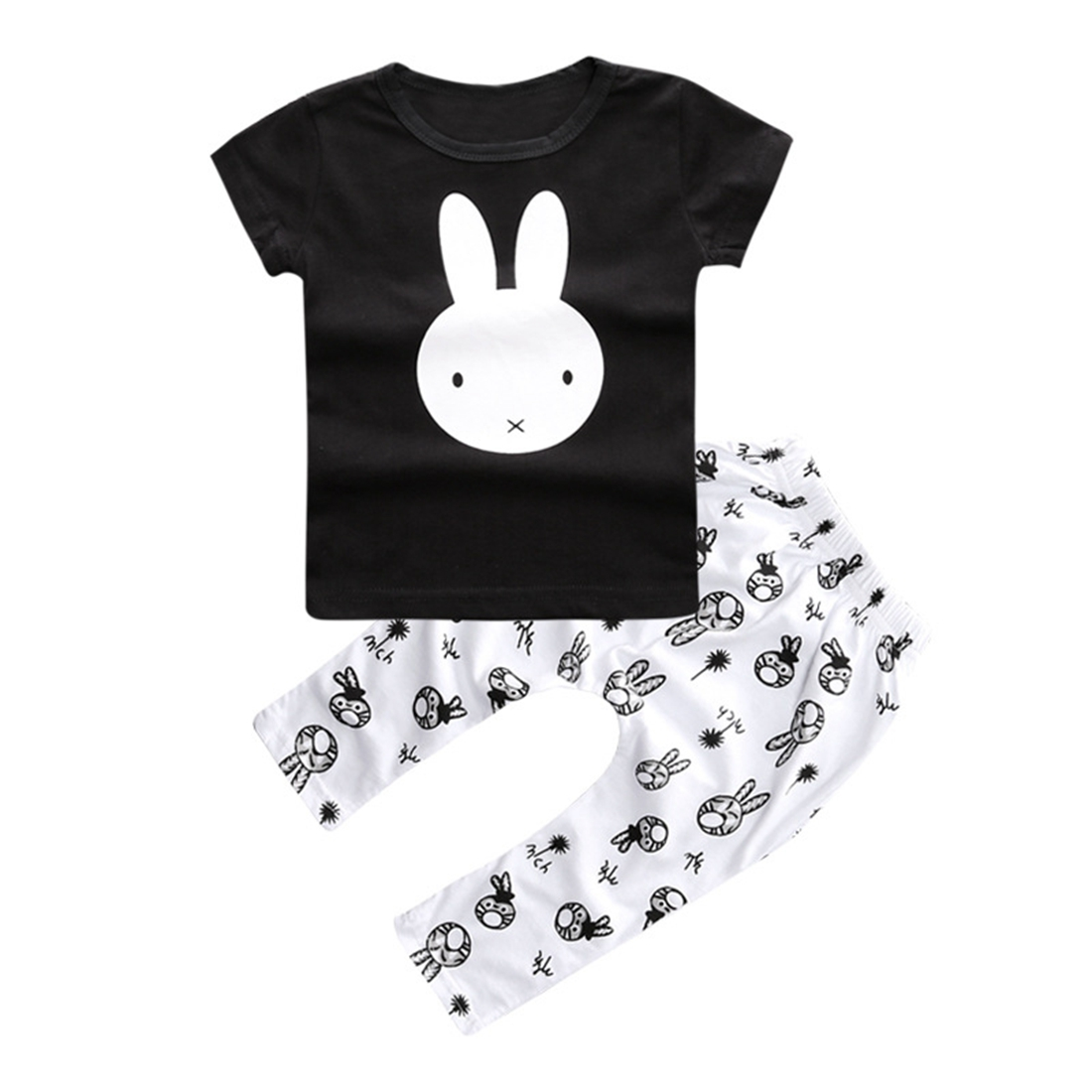 MACH Cute Bunny Infant Baby Boy Girl T-Shirt Pant Outfit Set Clothes 12-18m